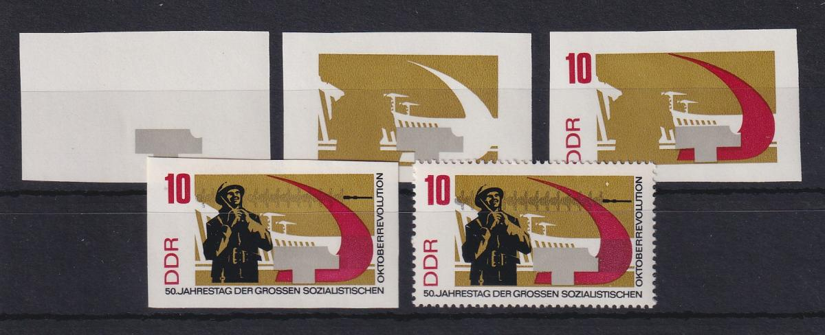 DDR 1967 kpl. Serie Phasendrucke Mi.-Nr. 1313  Oktoberrevolution 10Pfg **  0