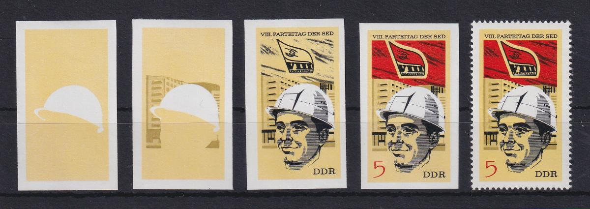 DDR 1971 kpl. Serie Phasendrucke Mi.-Nr. 1675 SED-Parteitag 5 Pfg **  0