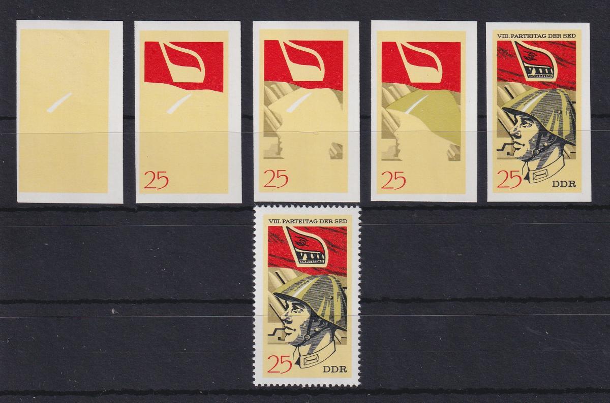 DDR 1971 kpl. Serie Phasendrucke Mi.-Nr. 1678 SED-Parteitag 25 Pfg **  0