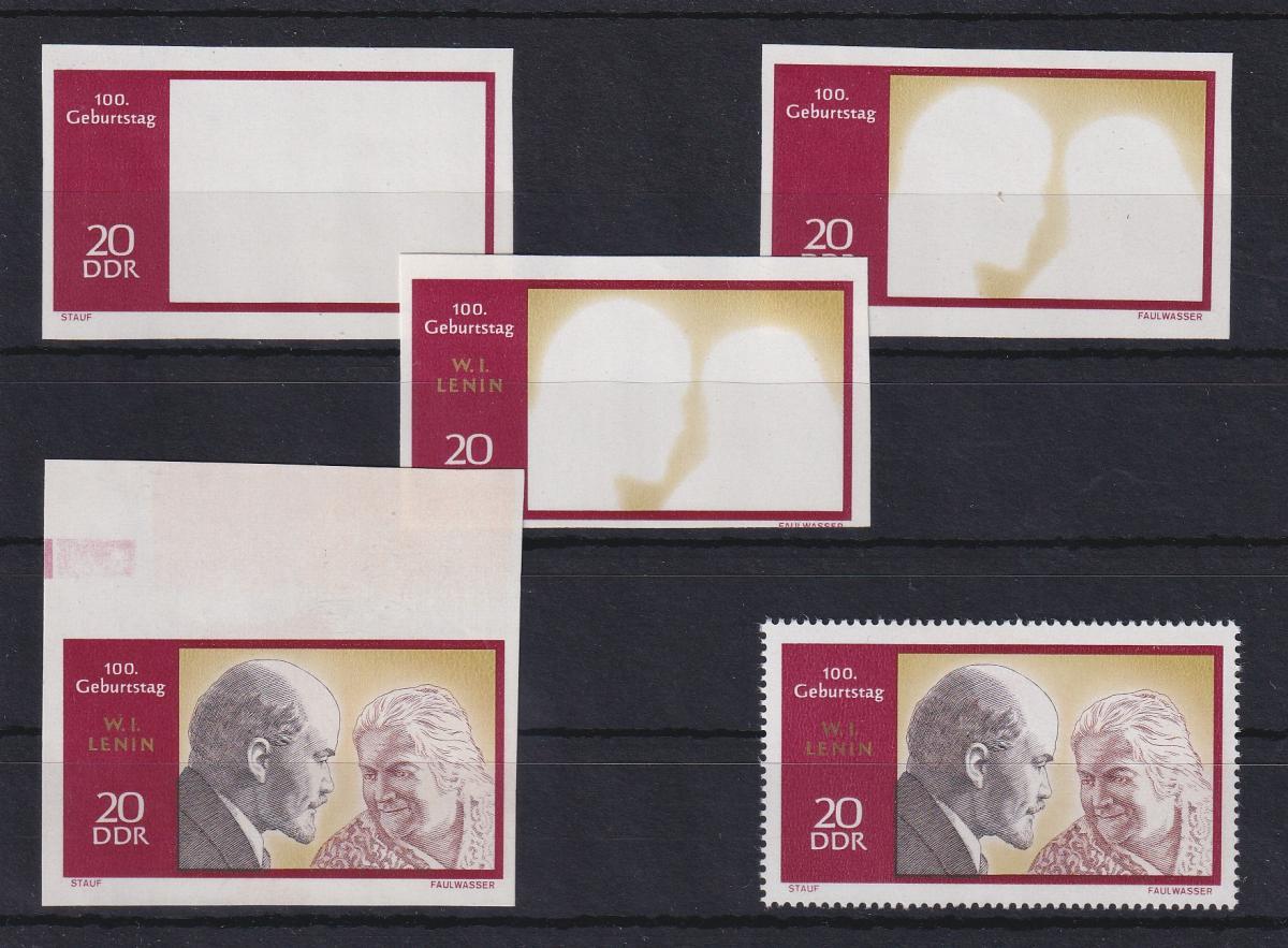 DDR 1970 kpl. Serie Phasendrucke Mi.-Nr. 1558 Lenin 20 Pfg **  0