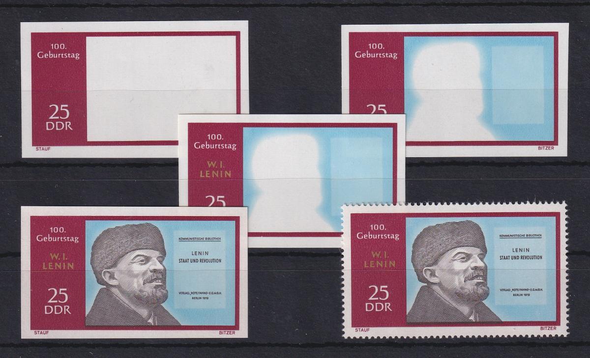 DDR 1970 kpl. Serie Phasendrucke Mi.-Nr. 1559 Lenin 25 Pfg **  0