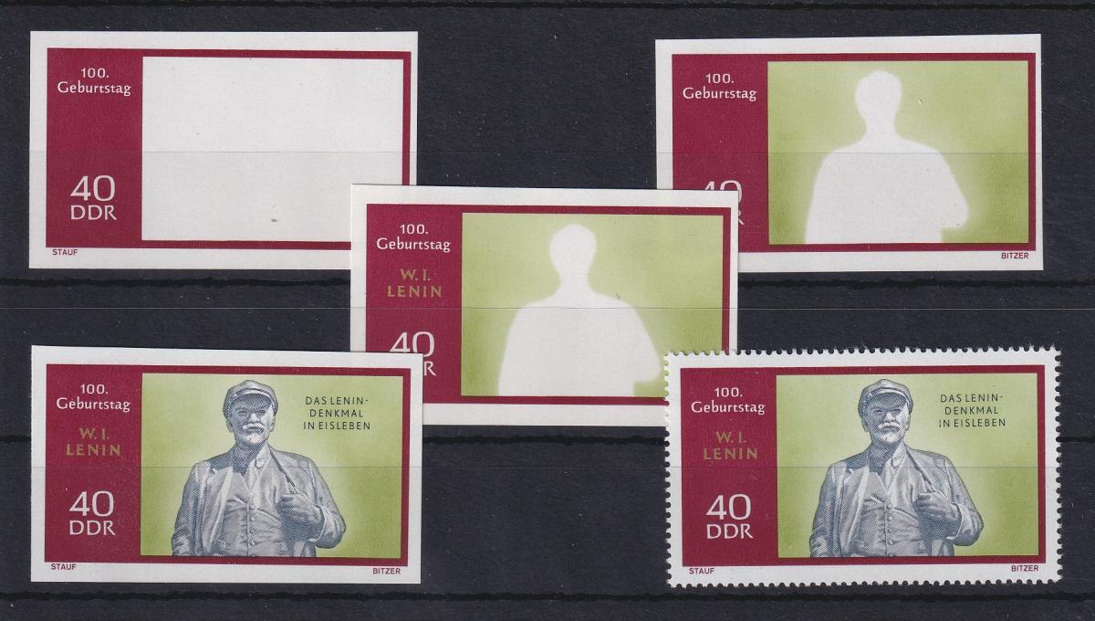 DDR 1970 kpl. Serie Phasendrucke Mi.-Nr. 1560 Lenin 40 Pfg **  0