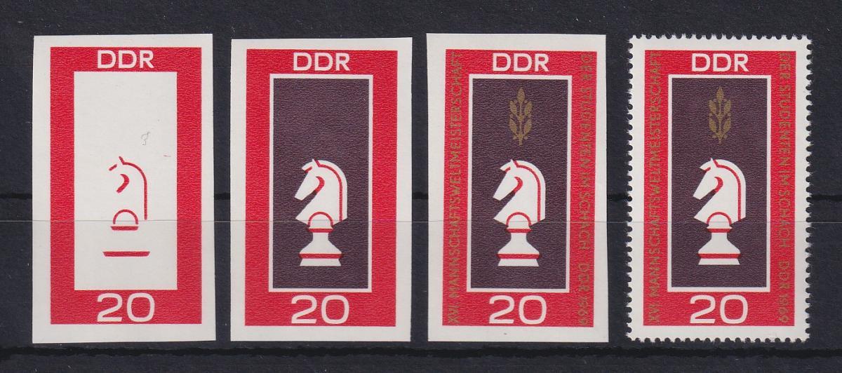 DDR 1969 kpl. Serie Phasendrucke Mi.-Nr. 1491 Schach - Figur Springer **  0