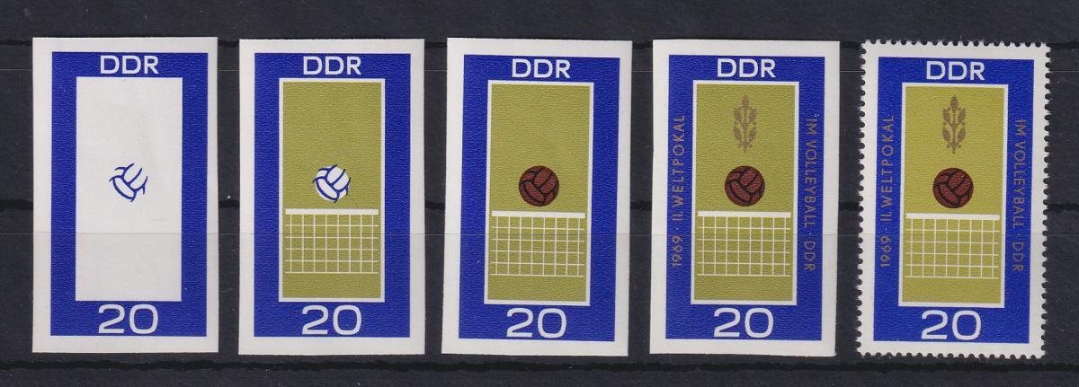 DDR 1969 kpl. Serie Phasendrucke Mi.-Nr. 1493 Volleyball **  0