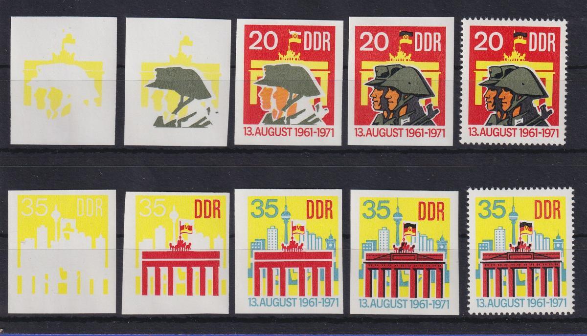 DDR 1971 kpl. Serie Phasendrucke Mi.-Nr. 1691-92  10 Jahre Berliner Mauer **  0