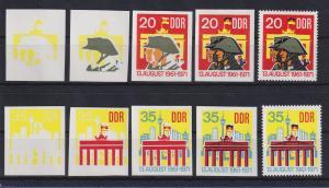 DDR 1971 kpl. Serie Phasendrucke Mi.-Nr. 1691-92  10 Jahre Berliner Mauer **