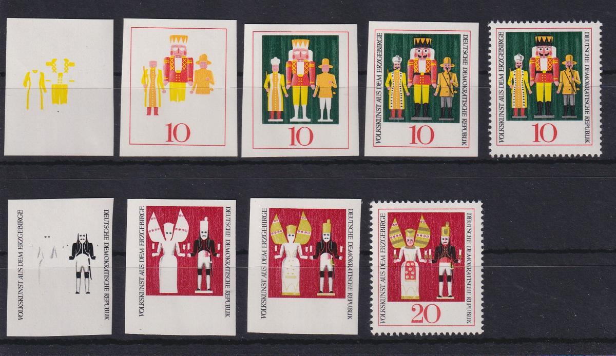 DDR 1967  Serie Phasendrucke Mi.-Nr. 1333-34 Weihnachten Kunst Erzgebirge  0