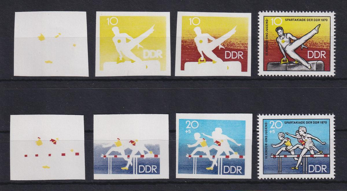 DDR 1970  6  Phasendrucke Mi.-Nr. 1594-95 Spartakiade Berlin 0