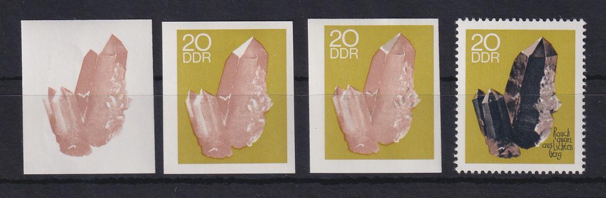 DDR 1969  3 Phasendrucke Mi.-Nr. 1471 Mineralien Rauchquarz 20 Pfg 0
