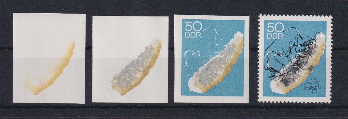 DDR 1969  3 Phasendrucke Mi.-Nr. 1473 Mineralien Silber 50 Pfg 0