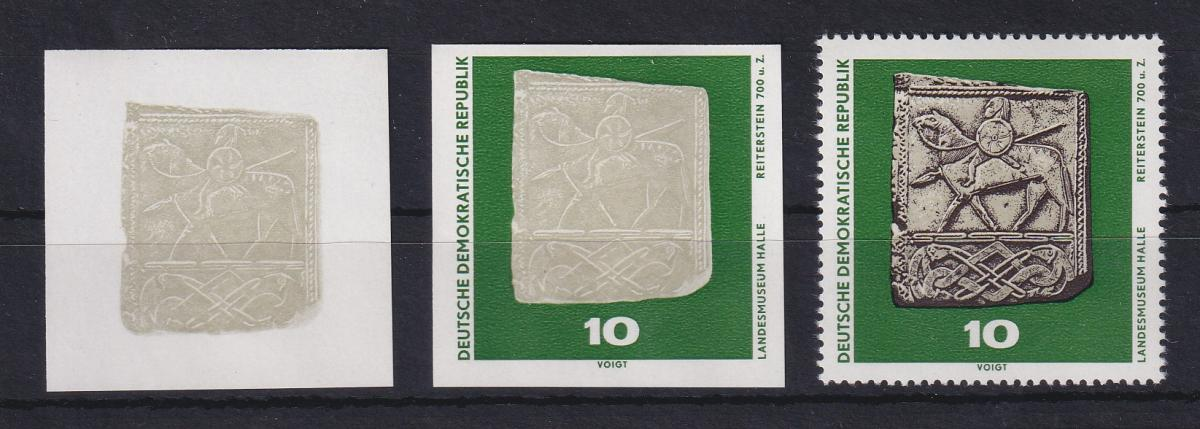 DDR 1970  2 Phasendrucke Mi.-Nr. 1553 Archäologie Reiterstein 10 Pfg 0