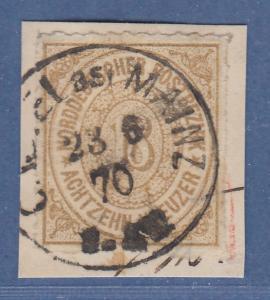 NDP 18 Kreuzer Mi.-Nr. 11  sauber gestempelt auf Briefstück