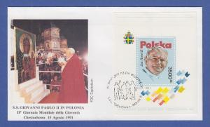 Papst Johannes Paul II. Besuch in Polen 1991 Sonder-Umschlag mit Block 113