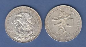 Mexiko Silber-Münze Olympische Spiele Mexico-City 1968, 22,5g 720er Silber