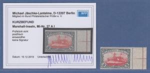 Dt. Kolonien Marshall-Inseln 5 Mark mit Wz. Mi.-Nr. 27 A I Seitenrand rechts **