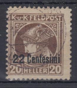 Österreich Feldpost Italien Zeitungsmarke 22 Cent. in  B-Zähnung Mi.-Nr. 23B O