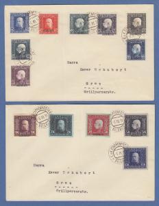 Österreich Feldpost Serbien Teilsatz Mi.-Nr. 9-21 auf 2 Ersttags-Briefen FDC