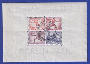 Deutsches Reich Olympische Sommerspiele 1936 Mi.-Nr. Block 6 mit Sonderstempel