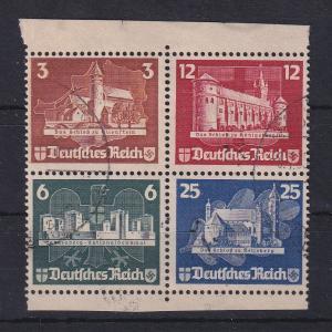 Deutsches Reich 1935 OSTROPA Herzstück aus Block Mi.-Nr. 576-579 gestempelt