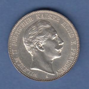 Deutsches Kaiserreich Preußen Wilhelm II. Silbermünze 2 Mark 1888 A vz-stg !!!