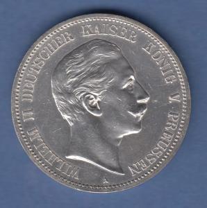 Deutsches Kaiserreich Preußen Wilhelm II. Silbermünze 5 Mark 1888 A vz-stg !!!