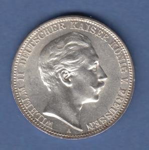 Deutsches Kaiserreich Preußen Wilhelm II. Silbermünze 3 Mark 1912 A sehr schön