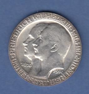 Deutsches Kaiserreich Preußen Silbermünze Universität Berlin 3 Mark 1910 vz
