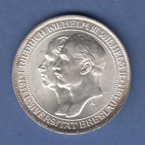 Deutsches Kaiserreich Preußen Silbermünze Universität Breslau 3 Mark 1911 vz