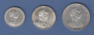 Deutsches Kaiserreich Preußen Wilhelm II. in Uniform Silbermünzensatz 2-3-5 Mark