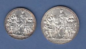 Deutsches Kaiserreich Preußen Silbermünzen Befreiung Satz 2 und 3 Mark 1913 vz