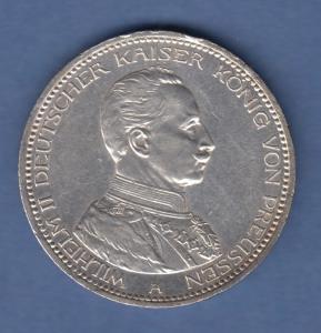Deutsches Kaiserreich Preußen Silbermünze Wilhelm II. in Uniform 3 Mark 1914 vz
