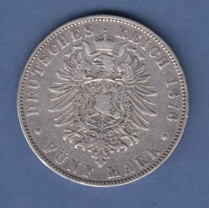 Deutsches Kaiserreich Sachsen König Albert 5 Mark 1876 E sehr schön !