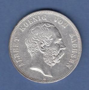 Deutsches Kaiserreich Sachsen König Albert 5 Mark 1898 E sehr schön !