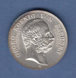 Deutsches Kaiserreich Sachsen Tod von König Georg 2 Mark 1904 E stempelglanz !