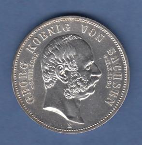 Deutsches Kaiserreich Sachsen Tod König Georg 5 Mark 1904 E fast stempelglanz !