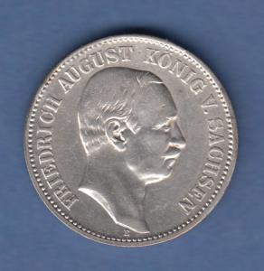 Deutsches Kaiserreich Sachsen König Friedr.-August 2 Mark 1907 E sehr schön !