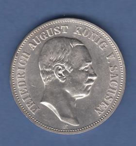 Deutsches Kaiserreich Sachsen König Friedr.-August 5 Mark 1914 E vorzüglich !