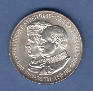Deutsches Kaiserreich Sachsen Universität Leipzig 2 Mark 1909 E stempelglanz !