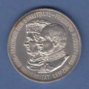 Deutsches Kaiserreich Sachsen Universität Leipzig 5 Mark 1909 E stempelglanz !