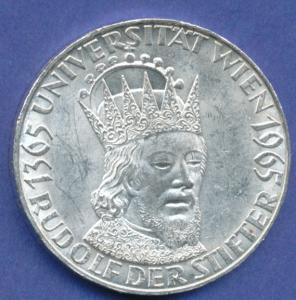 Österreich 50-Schilling Silber-Gedenkmünze 1965, Universität Wien, Rudolf IV.