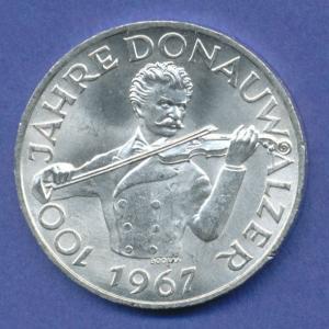 Österreich 50-Schilling Silber-Gedenkmünze 1967, Donauwalzer v. Johann Strauß jr