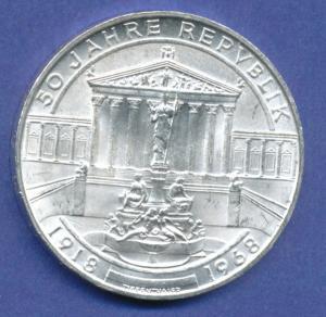 Österreich 50-Schilling Silber-Gedenkmünze 1968, 50 Jahre Republik Österreich