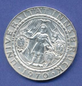 Österreich 50-Schilling Silber-Gedenkmünze 1970, 300 Jahre Universität Innsbruck