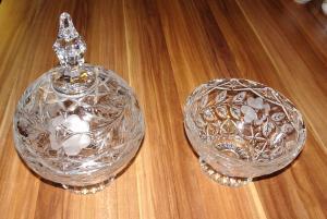2 Kristallschalen 1 Deckel Kristallglas Schale Bonboniere aus Nachlass