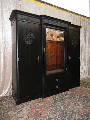 Originaler Jugendstil Wohnzimmer Schrank Spiegelschrank Kleiderschrank 5352 0
