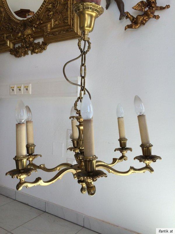 Hübscher alter 7 flammiger deckenleuchter leuchter metall traum nr ...