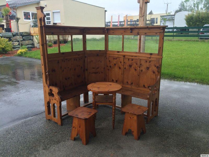 massive naturholz eckbank ensemble eckbankgruppe zirbenholz tisch 2 hocker a1037 nr. Black Bedroom Furniture Sets. Home Design Ideas