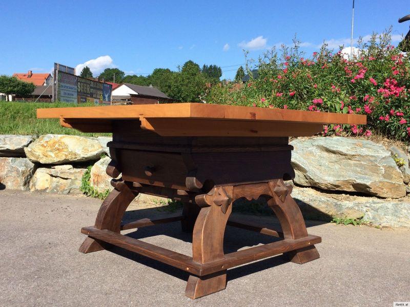 Alter Uriger Jogltisch Bauerntisch Tafeltisch Tisch Ahorn Eiche 118 X 117  A1182 2