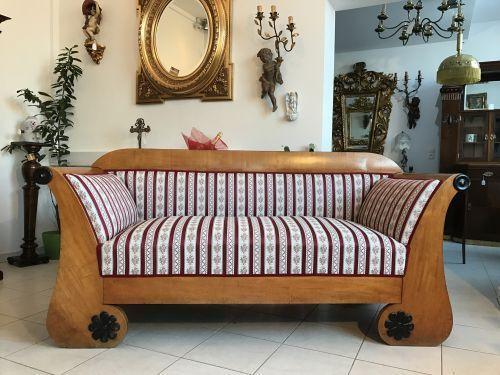 W1387 Originalstück Biedermeier Diwan Couch Sofa Authentikum Furniert