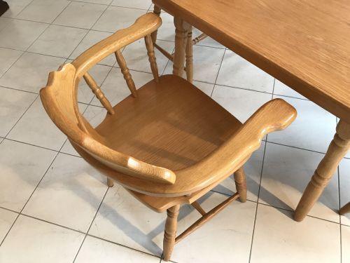 Eichenholz Bauerntisch 4 Sessel Sitzgruppe Bauernstube W1670